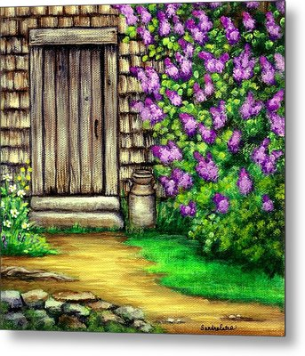 Lilacs By The Barn Metal Print
