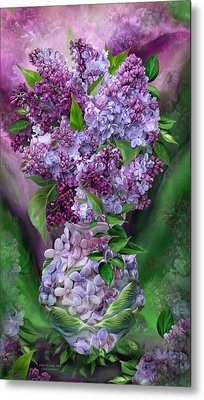 Lilacs In Lilac Vase Metal Print by Carol Cavalaris