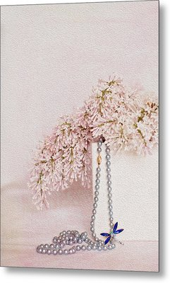 Lilacs Pearls And A Bit Of Sparkle Metal Print by Rebecca Cozart
