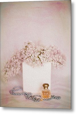 Lilacs Pearls And Perfume Metal Print by Rebecca Cozart