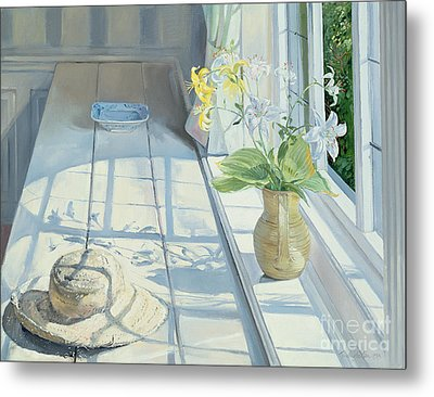 Lilies And A Straw Hat Metal Print by Timothy Easton