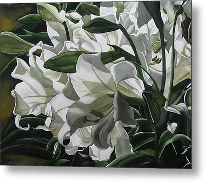 lilies for Easter Metal Print by Alfred Ng