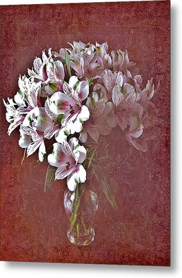 Metal Print featuring the photograph Lilies In Vase by Diane Alexander