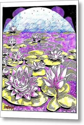 Metal Print featuring the drawing Lilies Of The Lake by Seth Weaver