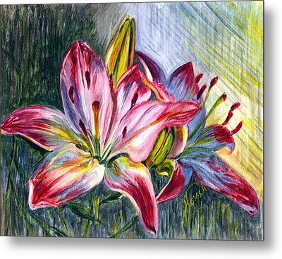 Metal Print featuring the painting Lilies Twin by Harsh Malik