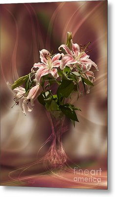Lilies With Floating Vas Metal Print by Johnny Hildingsson