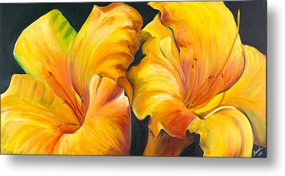 Metal Print featuring the painting Lillies by Sheri  Chakamian