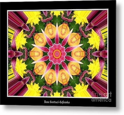 Metal Print featuring the photograph Lily And Chrysanthemums Flower Kaleidoscope by Rose Santuci-Sofranko