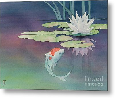Lily And Koi Metal Print by Robert Hooper