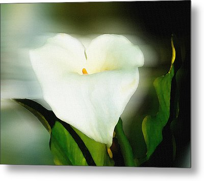 Lily Faux Watercolor Metal Print