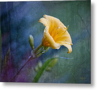 Lily In Blues And Greens Metal Print