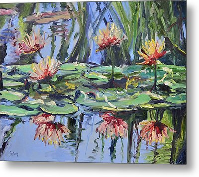 Lily Pond Reflections Metal Print by Donna Tuten