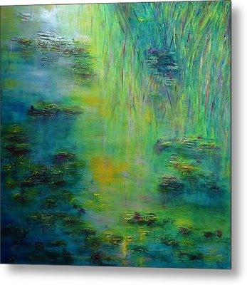 Lily Pond Tribute To Monet Metal Print by Claire Bull