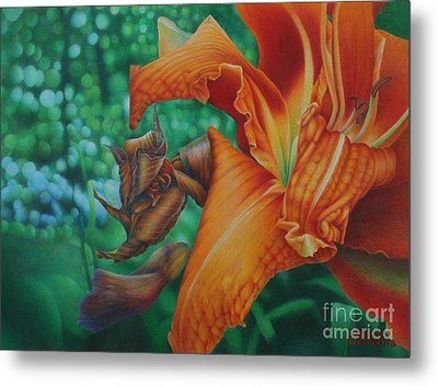 Metal Print featuring the painting Lily's Evening by Pamela Clements