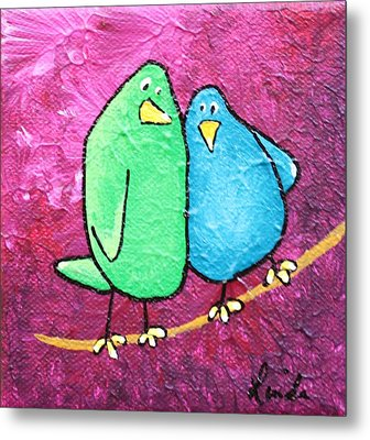 Limb Birds - Green And Turq Metal Print by Linda Eversole