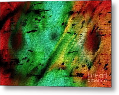 Metal Print featuring the digital art Lime And Orange Counterpoint by Lon Chaffin