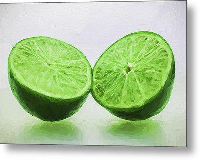 Lime Food Painted Digitally 3 Metal Print