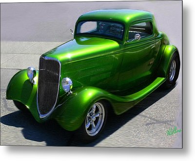 Lime Green Auto  Metal Print by Mary M Collins