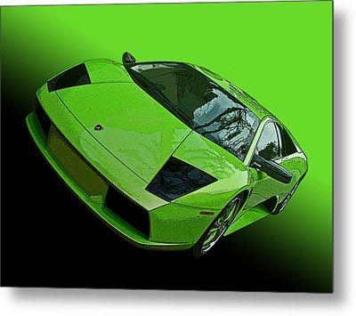 Lime Green Lamborghini Murcielago Metal Print by Samuel Sheats