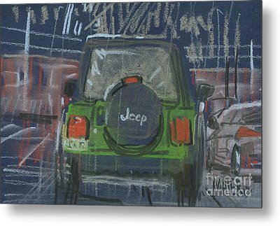 Metal Print featuring the painting Lime Jeep by Donald Maier