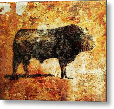 French Limousine Bull 10 Metal Print by Larry Campbell