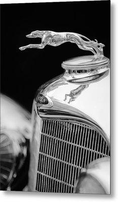 Lincoln Hood Ornament - Grille Emblem -1187bw Metal Print by Jill Reger