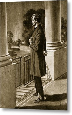 Lincoln Looks Out From The White House Metal Print by American School