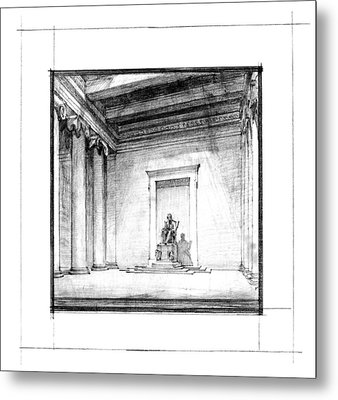Lincoln Memorial Sketch IIi Metal Print by Gary Bodnar
