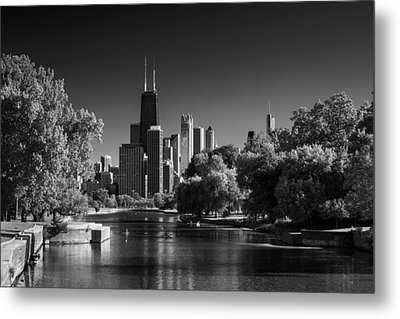 Lincoln Park Lagoon Chicago B W Metal Print by Steve Gadomski