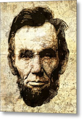 Lincoln Sepia Grunge Metal Print by Daniel Hagerman