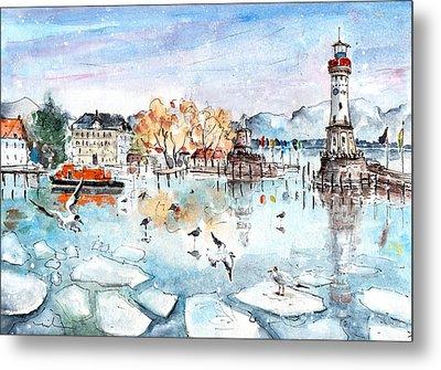 Lindau Harbour In Winter Metal Print by Miki De Goodaboom