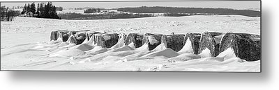 Line Of Bales Drifted With Snow Metal Print