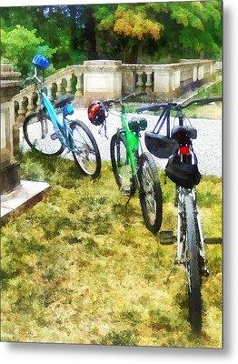 Line Of Bicycles In Park Metal Print by Susan Savad