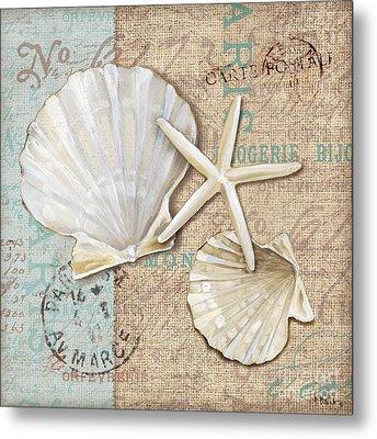 Linen Shells I Metal Print
