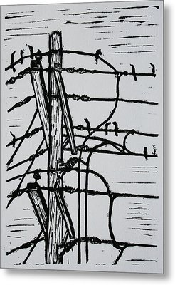 Lines And Birds Metal Print