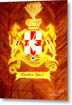 Linford Coat Of Arms Honoring My Ancestors Especially John And Maria Linford Metal Print by Richard W Linford