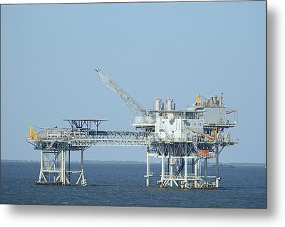 Linked Oil Platforms Metal Print