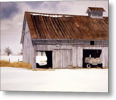 Metal Print featuring the painting Lin's Barn by Tom Wooldridge