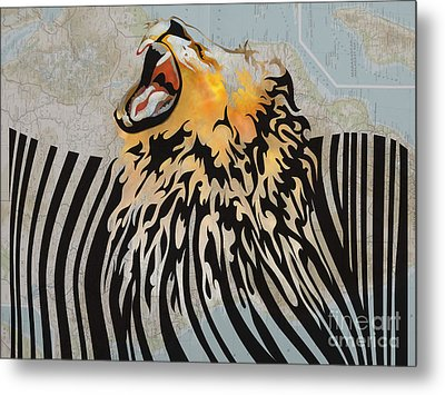Lion Barcode Metal Print by Sassan Filsoof
