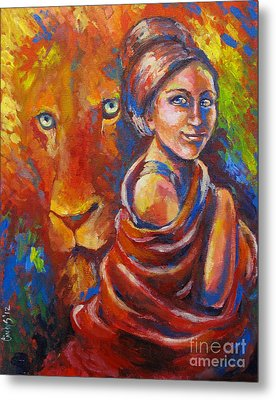 Lion Covering Metal Print by Tamer and Cindy Elsharouni
