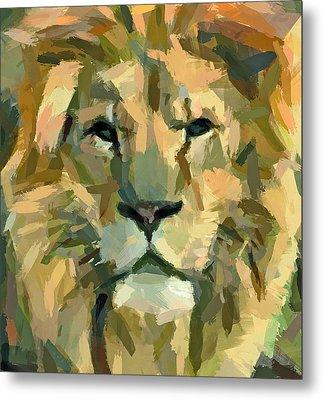 Lion Face Expression Metal Print