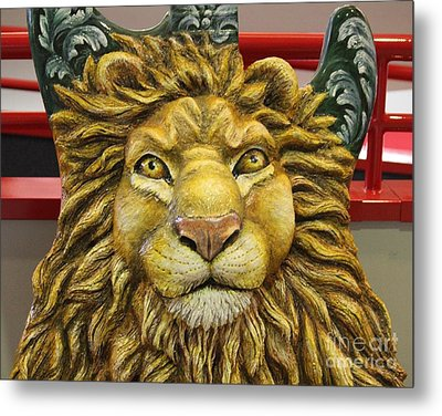 Lion Face Guitar Metal Print by Cynthia Snyder