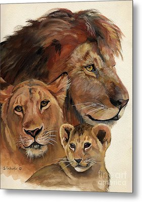 Lion Family Portrait Metal Print by Suzanne Schaefer