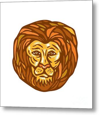 Lion Head Woodcut Linocut Metal Print by Aloysius Patrimonio
