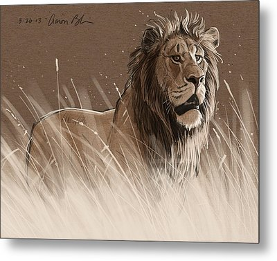 Lion In The Grass Metal Print by Aaron Blaise