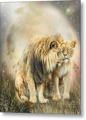 Lion Kiss Metal Print by Carol Cavalaris