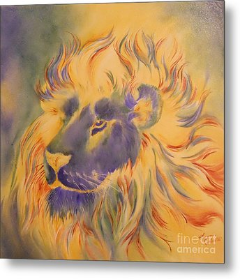 Lion Of Another Color Metal Print