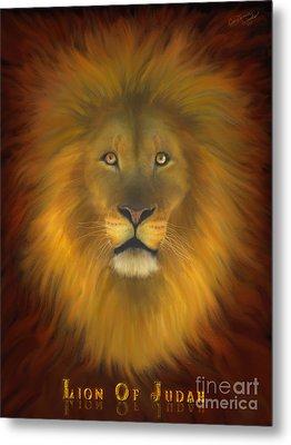 Lion Of Judah Fire In His Eyes 2 Metal Print by Constance Woods