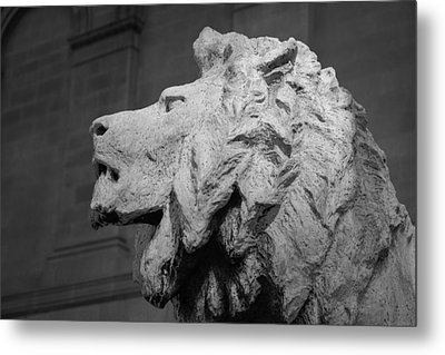 Lion Of The Art Institute Chicago B W Metal Print