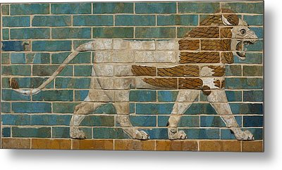 Lion Relief From The Processional Way In Babylon Metal Print by Babylonian
